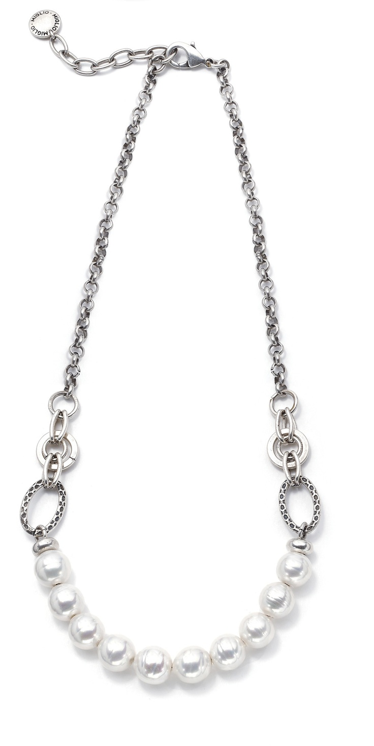Feminine shell pearl and chain necklace N1267 £40  www.miglio.co.uk/jane-mason