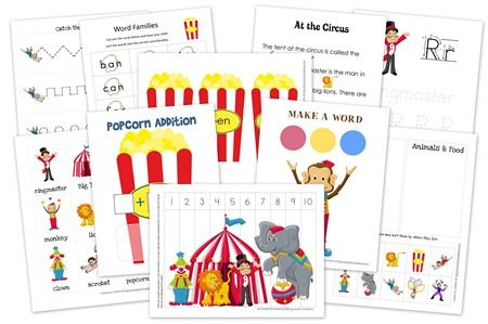 Circus themed printables for preschool and kindergarten age children