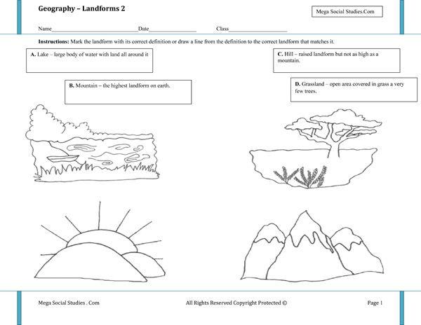 landforms worksheet 2 homeschooling earth science landforms worksheet kindergarten. Black Bedroom Furniture Sets. Home Design Ideas