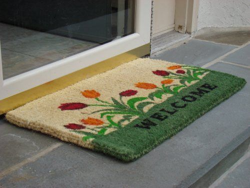 Printed Coco Coir Doormat Welcome Tulip Design By William F. Kempf  Cocomats. $19.95.