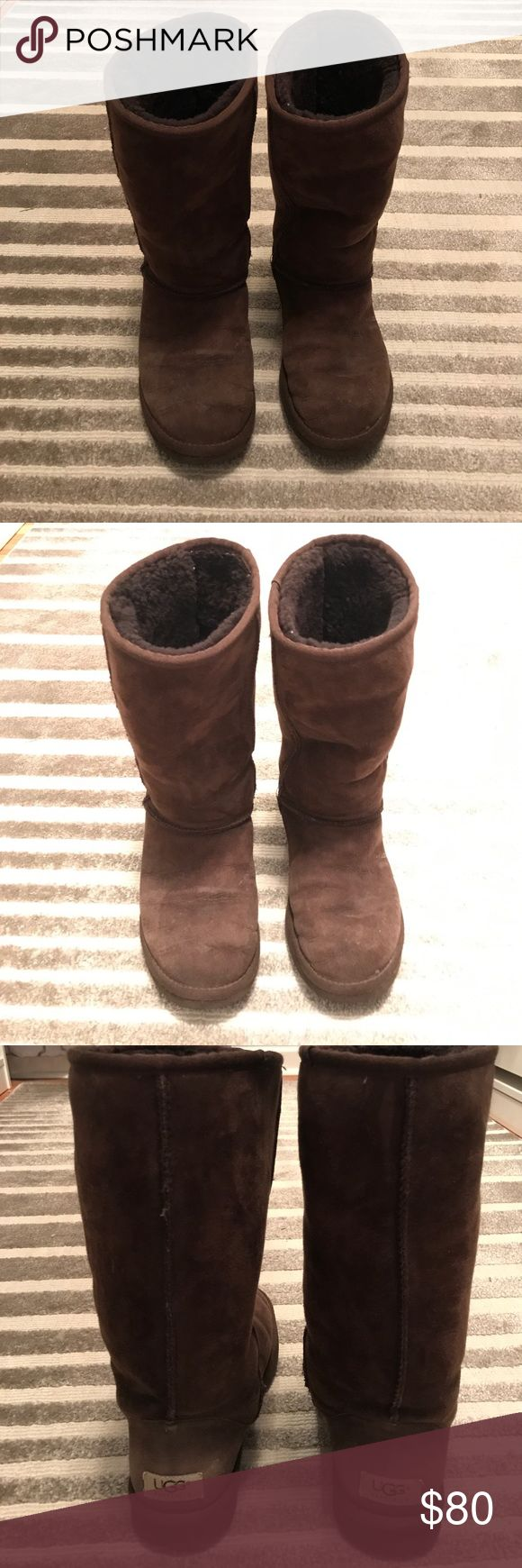 UGG Classic Tall Chocolate Boots Pre-loved Classic Tall UGG Boots in chocolate, a beautiful dark rich brown color. Pictures show current condition. There is wear but these cozy boots can still be worn, either with jeans, leggings or simply as a boot to get you in and out of the office. Let me know if you have any questions! UGG Shoes Winter & Rain Boots