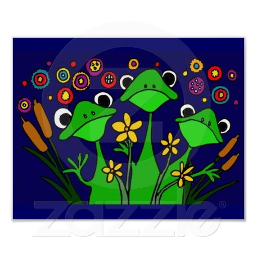 Happy Frog Folk Art Poster #frogs #funny #animals #poster #art #folkart #zazzle #petspower