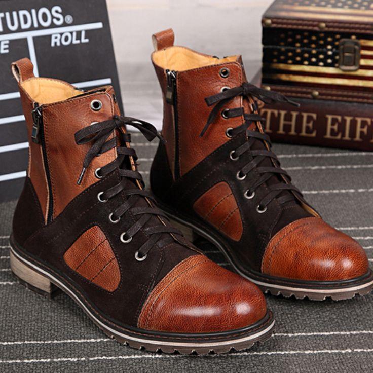 Christia Bella Fashion Genuine Leather Men Boots Casual Lace Up Ankle Boots for Men Cowboy Boots Designer Winter Shoes Plus Size