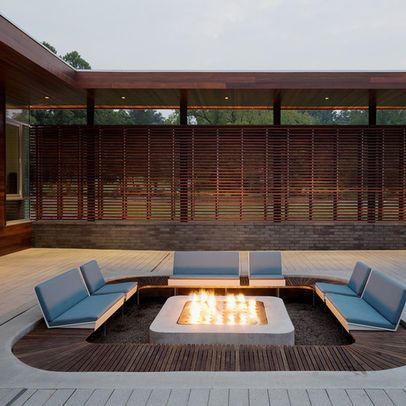 Decks With Sunken Fire Pit If Thinking Of Complete Wooden Decking Modern Outdoor Fireplace