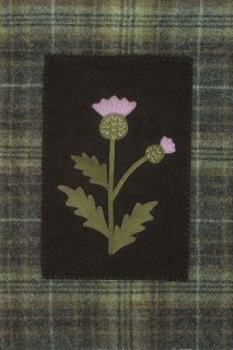 "Thistle is a small wall hanging measuring 13"" x 16"". Made from Wool."