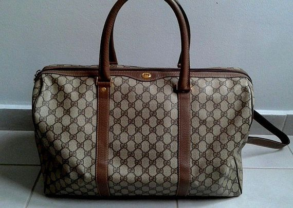 a6a9f1739 Vintage Gucci brown GG monogram supreme duffle bag / satchel / travel /  boston bag