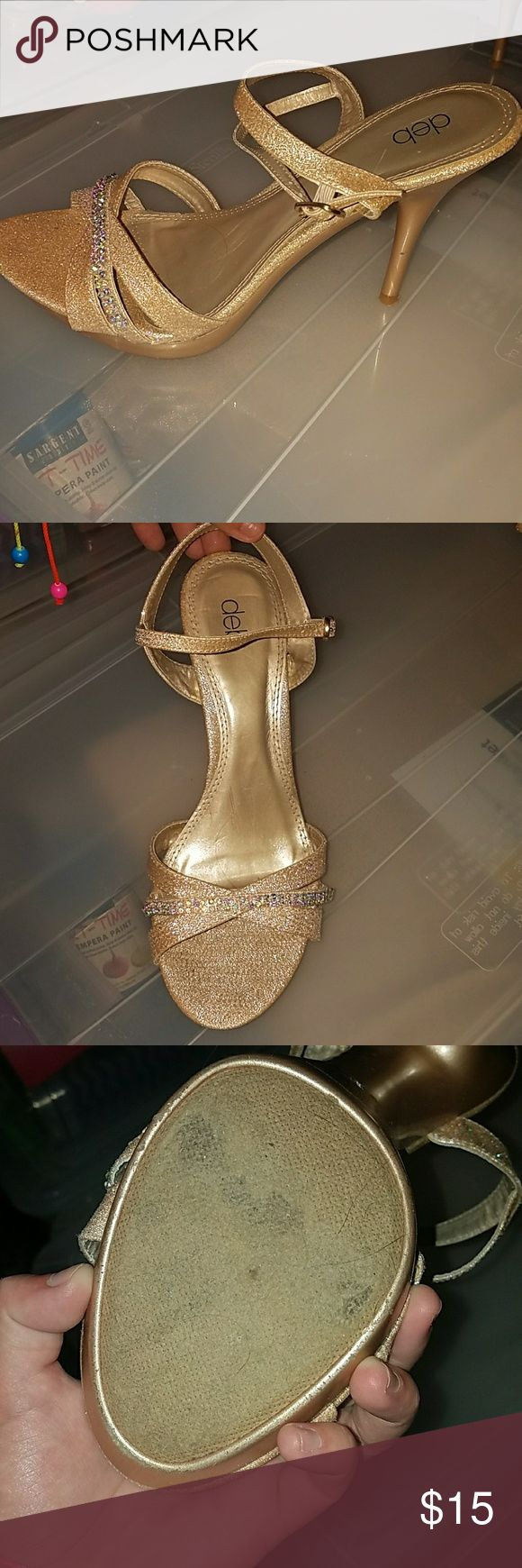Gold glitter heels Worn once for homecoming, some wear and tear on the bottom as pictured. Deb Shoes