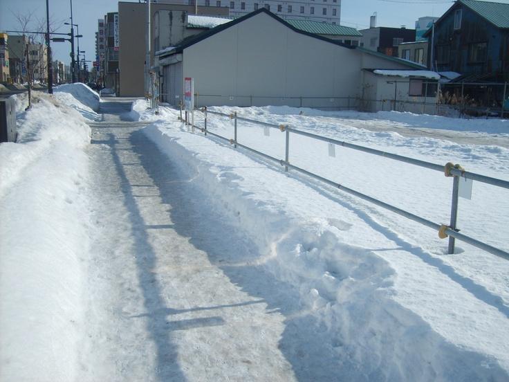 Snowy sidewalks - Chitose, Japan