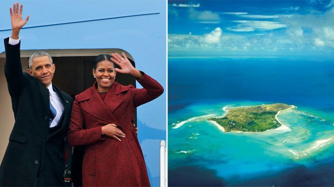 Barack en Michelle Obama waaien uit op de Britse Maagdeneilanden