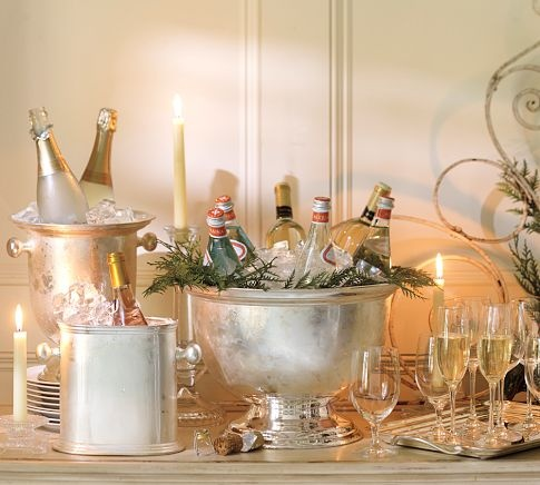 Silver champagne buckets for holiday cheer!