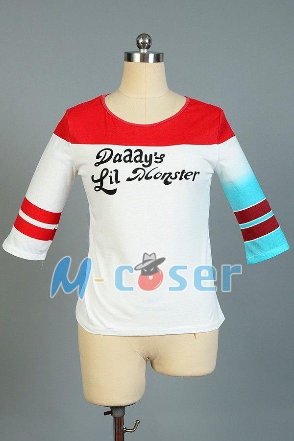 Batman Arkham Asylum City Suicide Squad Harley Quinn Costume T Shirt Daddy's Lil Monster T-Shirt Joker Cosplay Costumes