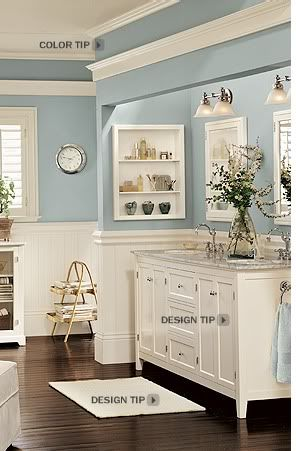 i love the cornice idea above the mirrorhumm bathroom color bm