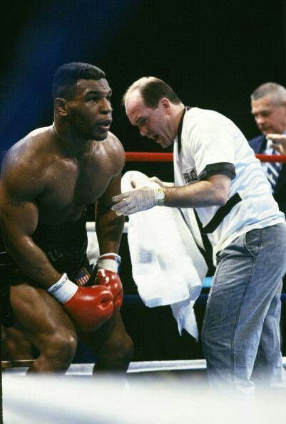 Kevin Rooney fires up Mike Tyson as the bell sounds...
