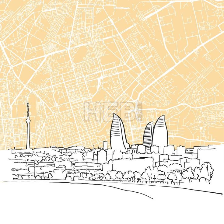 Baku Azerbaijan Background Map by Hebstreits #stockimage #drawing #sketch #travel #pen #download #digital #vector #art