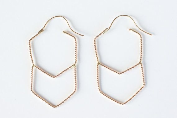 14k gold fill or sterling geometric hoops / geometric by Onata