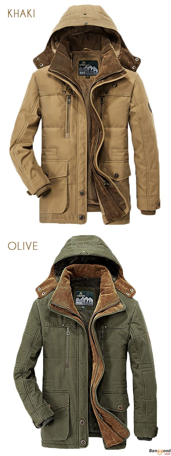 Limited Price: US$99.99 + Free Shipping. Mens Thick Fleece Winter Coat Hooded Outdoor Solid Color Jacket.  100% Cotton. Color: Blue, Coffee, Army Green, Khaki. Shop Now!