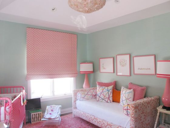 Pink and Aqua Nursery: Aqua Nurseries, Mint Green, Paintings Colors, Paint Colors, Colors Schemes, Baby Rooms, Turquoise Colors, Mint Nurseries, Blue Nurseries