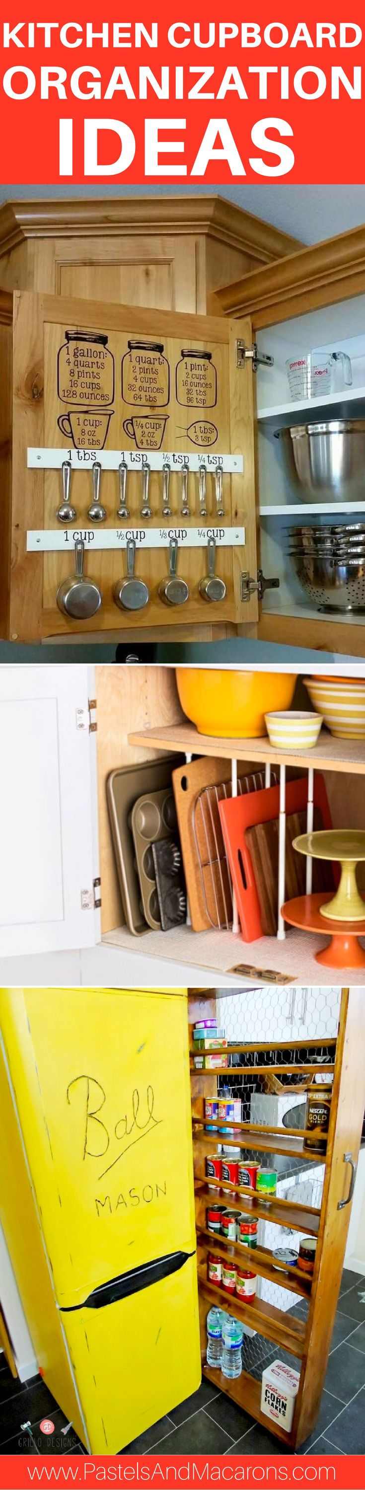 DIY kitchen cupboard organizing ideas and hacks to help you better organize your kitchen. Perfect organization ideas for small kitchen or rental living. These tips will help you organize your cupboards like a pro and on the cheap! Simple and easy ways to help you organize your entire kitchen with containers, jars and labels and more! Get those cupboards, draws and pantry under control once and for all!
