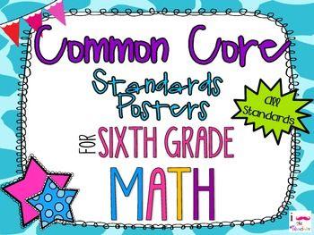 {FREEBIE} 6th Grade Math Common Core *Standards Posters* Giraffe Print