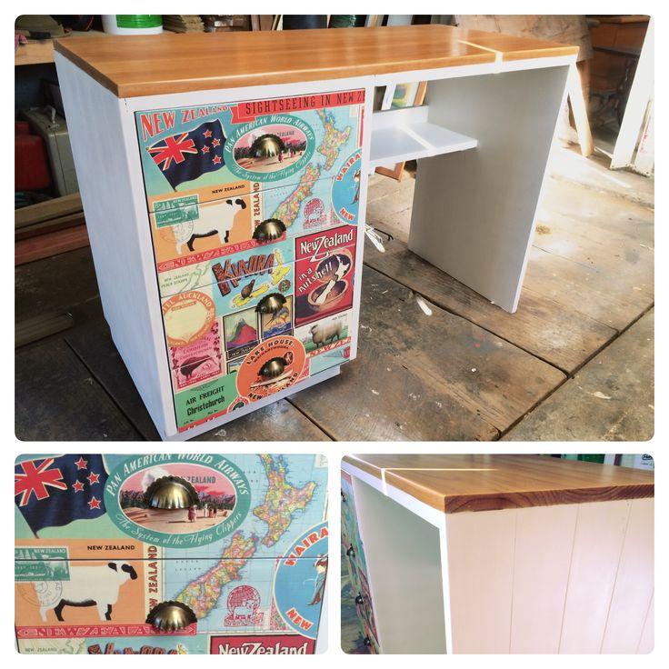 'Kiwiana' themed desk. Modern & vintage meet. Facebook.com/HomeCandyNZ