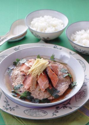 ひき肉の鮭のせ皿蒸し   佐藤幸男さんのレシピ【オレンジページnet ...
