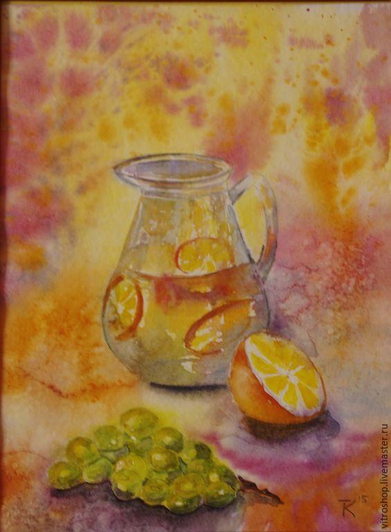 Купить Натюрморт с кувшином - оранжевый, акварель, картина, натюрморт, солнце, апельсин, виноград, акварель, бумага