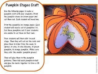 Fall Life Cycle of a Pumpkin Craft for Fall Activities as seen on Kindergarten Klub    www.kindergartenklub.com