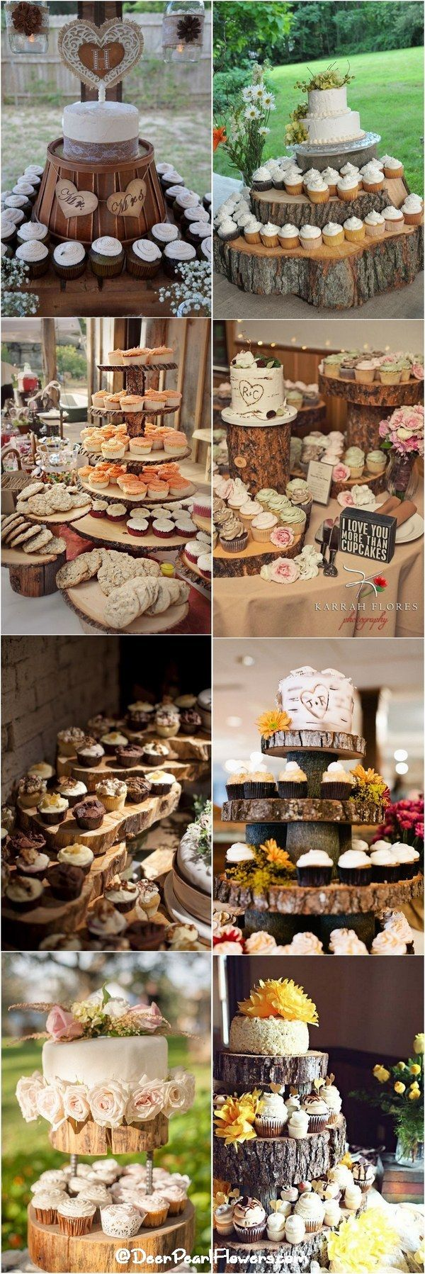 Rustic country wedding cupcakes & stands / http://www.deerpearlflowers.com/rustic-wedding-cupcakes-stands/