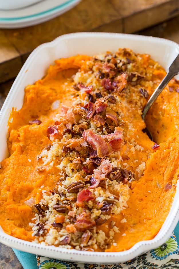 Savory Sweet Potato Casserole with Bacon and Gruyere - recipe from Spicy Southern Kitchen