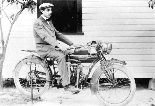 Florida Memory - Howard Phafl on his Indian motorcycle - Boynton Beach, Florida