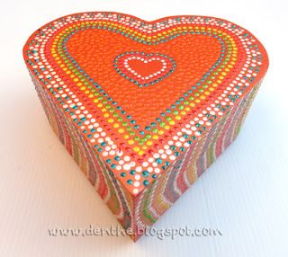denthe #painted #boxes #wooden boxes #dotpainting heartbox