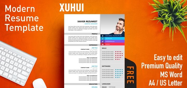 Free modern resume template. 2-column structure layout. This resume template offers a stylish design, hard to get in a Word format. The vibrant colors -while subtly used- and the modern design will make your resume stand out.