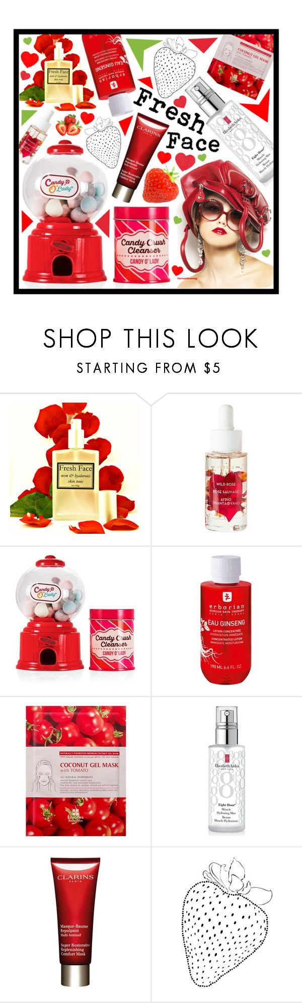 """""""Fresh face"""" by beanpod ❤ liked on Polyvore featuring beauty, Forever 21, Erborian, Elizabeth Arden, Clarins, Summer, red, fresh and skincare"""