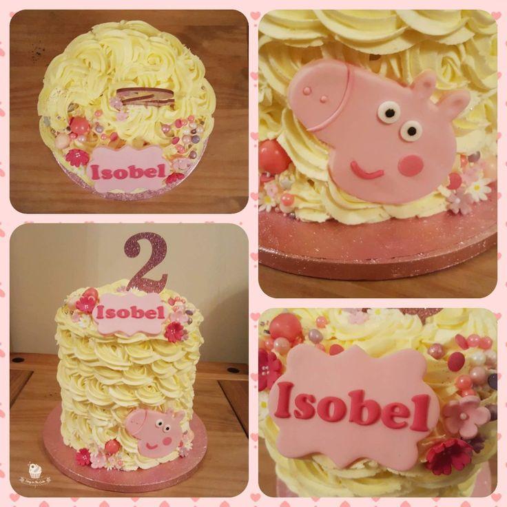 Peppa pig buttercream rose cake