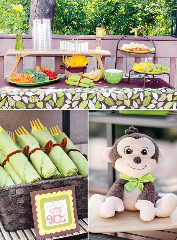 monkey-birthday-party-food-table-toy-silverware