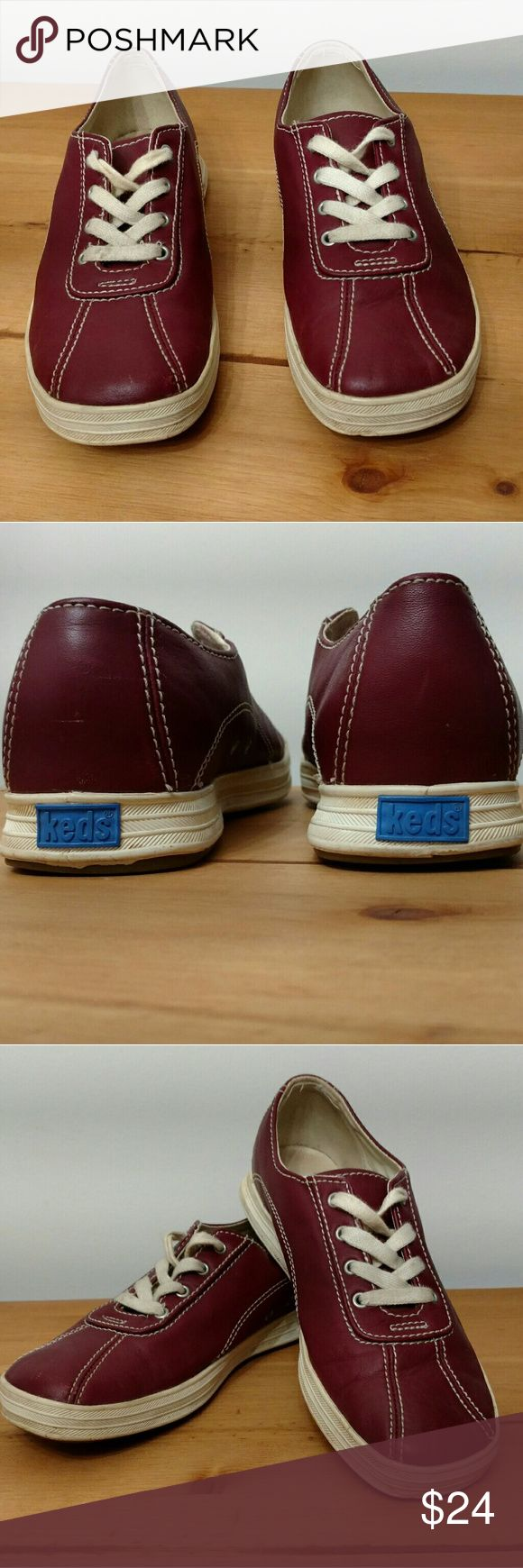 Maroon Leather Keds Originals. Size 7 Pre-loved genuine leather Keds in gorgeous maroon color. Stitching and leather in excellent condition, a few minor scuffs and laces on one shoe are starting to fray but overall in great shape. Keds Shoes