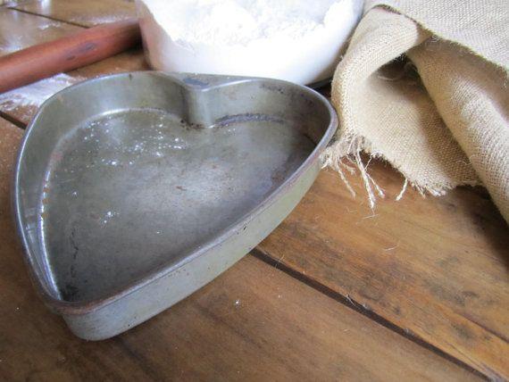 Vintage Cake Pan Heart Shape Rustic Farmhouse by hyperboleVINTAGE, $10.00