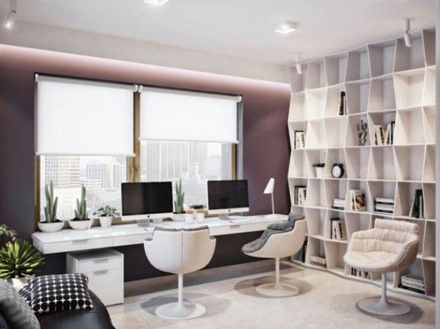Modern Kabinett Einrichten Zu Hause Ergonomische Arbeitsstuhle Pflanzen Modernes Homeoffice Buroraumgestaltung Wohnungseinrichtung