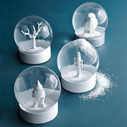 these remind me of the old sulpher balls my grammy had, the figure was white and in a glass ballWestelm, Wall Decor, Snow Globs, Wedding Ideas, Snow Globes, Winter Wonderland, Holiday Decorations, Christmas Decor, West Elm