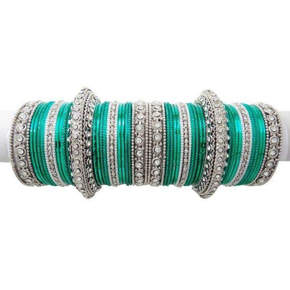 Women's #Fashion #Jewelry: Bridal Wear Teal #Green #Silver Tone Bangle Bracelet Party Wear Set Indian Womens Costume Jewelry Gift: #Bracelets