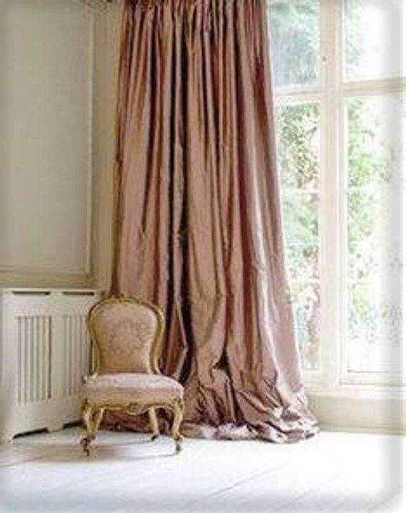 Dusty Rose Silk Curtain Silk Taffeta Interior Curtains Etsy