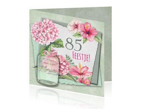 Uitnodiging 85ste verjaardag met hortensia