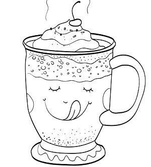 Printable Winter Coloring Pages: Hot Chocolate Mug (via Parents.com)
