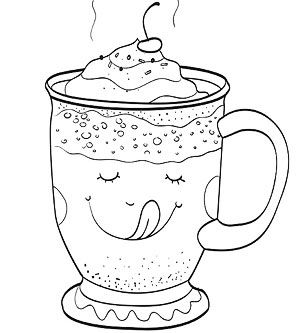Hot chocolate mug coloring sheet winter christmas for Hot chocolate mug coloring page