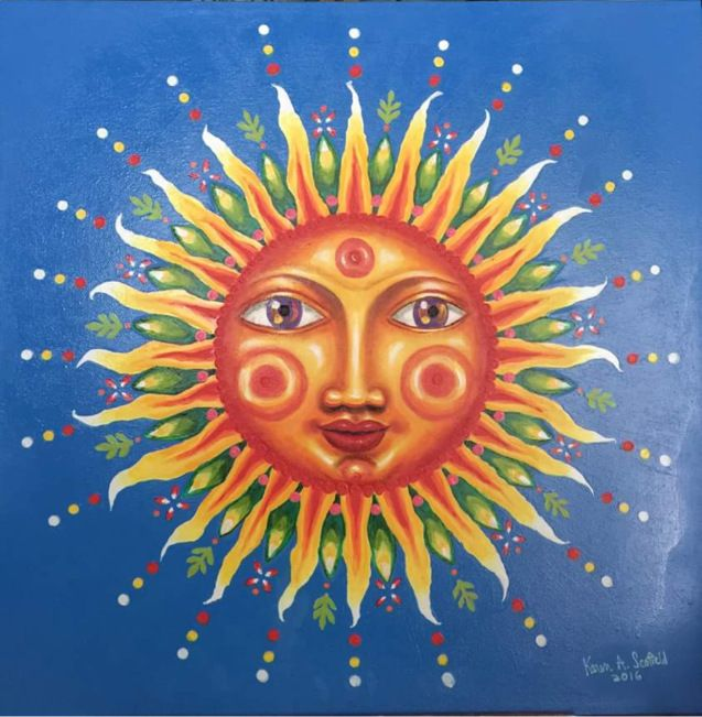 """Glow-in-the-Dark Anthropomorphized Sun Painted by Karen A. Scofield. 2016. Acrylics on Canvas, 18""""x18""""."""