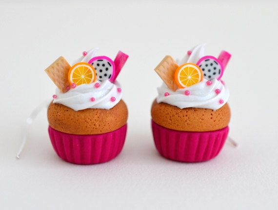 Kawaii Pink Fruit Cupcake Earrings  Polymer Clay by Ashito on Etsy, $10.00