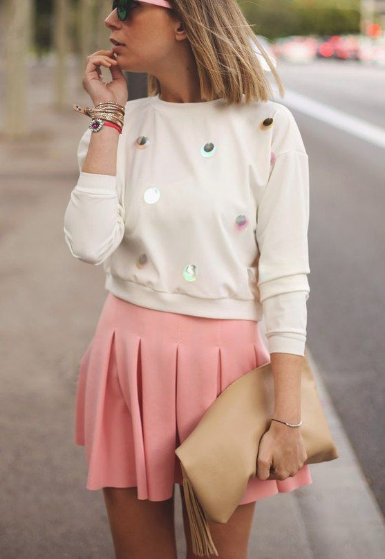 Soft Spring 2015 Fashion Pink Skirt and Turtle-neck Perfect Casual Style.
