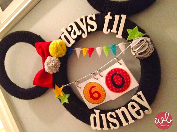 Disney Countdown MickeyDisney World Vacations, Walt Disney, Crafts Ideas, Disney Crafts, Disney Princesses, Disney Wreath, Disney Trips, Disney Vacations, Disney Countdown