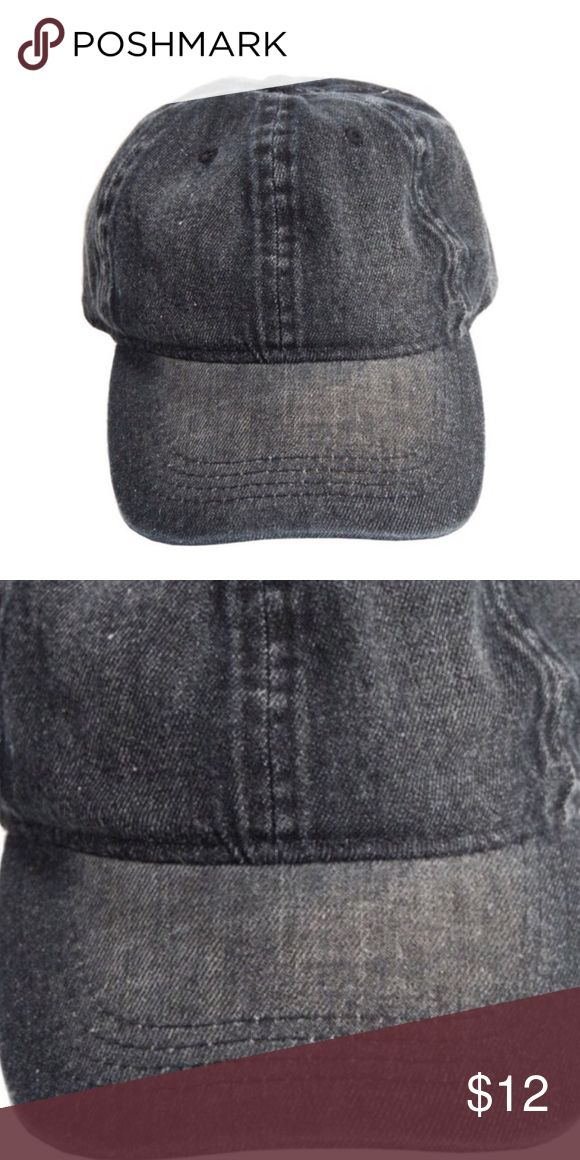 ⚜Vintage Baseball Cap⚜ Vintage black  denim baseball cap with adjustable closure ⚜Made in China⚜ Photo Credit: Fashionomics⚜Model picture credit: Pinterest Fashionomics Accessories Hats