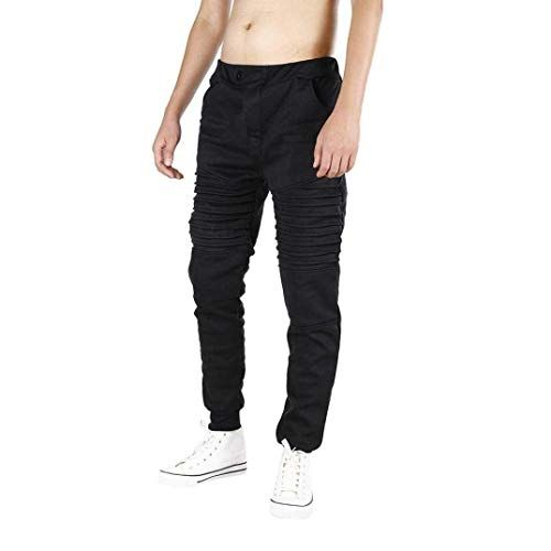 Men's Casual Pants Long Slim Straight Solid Color Bu …